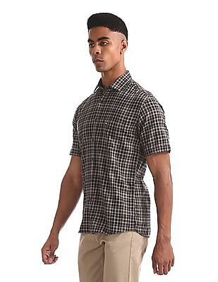 Arrow Sports Beige And Navy Patch Pocket Check Shirt