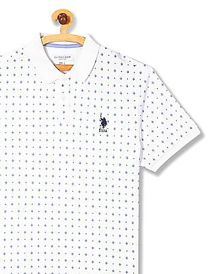 U.S. Polo Assn. White Short Sleeve Printed Polo Shirt
