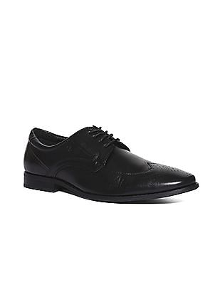 Arrow Round Toe Leather Brogue Shoes