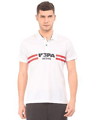 USPA Active Striped Chest Active Polo Shirt