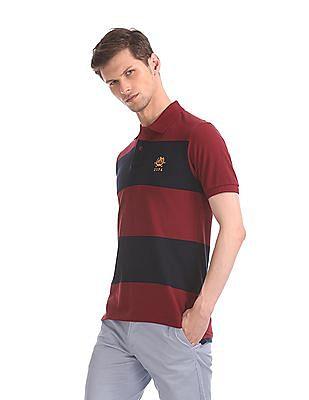 U.S. Polo Assn. Maroon And Navy Striped Polo Shirt