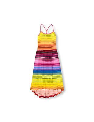 The Children's Place Girls Sleeveless Rainbow Stripe Knit Hi-Low Dress