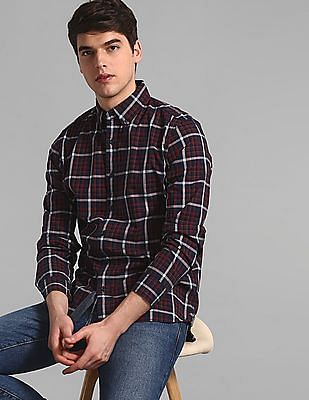 GAP Red Check Cotton Stretch Shirt