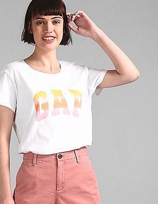 GAP Women White Crew Neck Graphic T-Shirt