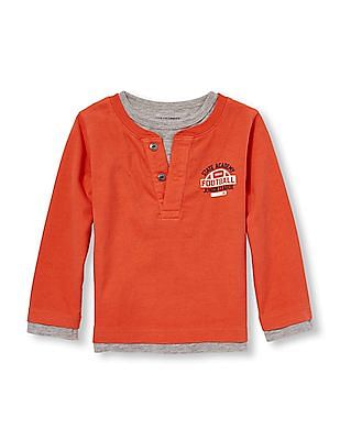 The Children's Place Boys Long Sleeve Athletic Graphic Faux-Layered Henley