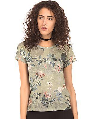 EdHardy Women Floral Print Regular Fit T-Shirt