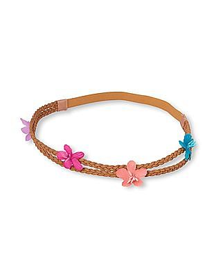 The Children's Place Girls Braided Faux-Suede 3D Flower Double Headwrap