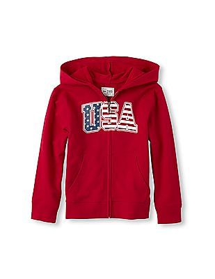 The Children's Place Boys Red Active Long Sleeve Full-Zip USA Hoodie