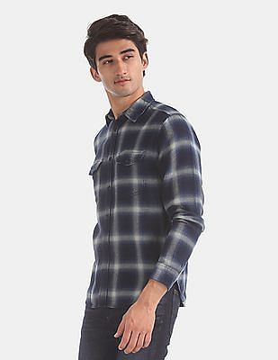 GAP Blue Regular Fit Herringbone Check Shirt