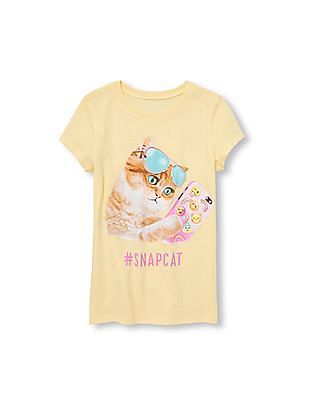 The Children's Place Girls Short Sleeve Snapcat Graphic Tee