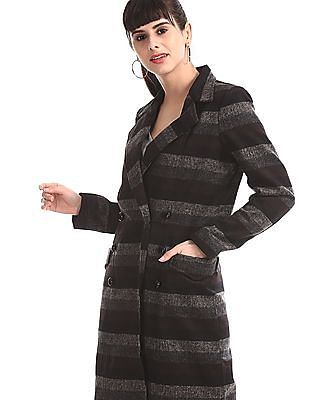 Elle Studio Black Striped Double Breasted Coat