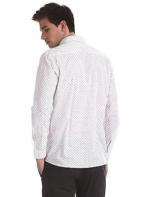 Ruggers White Spread Collar Printed Shirt