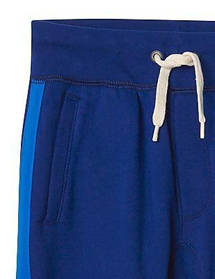 GAP Boys Blue Side Stripe Fleece Sweats