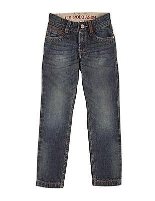 U.S. Polo Assn. Kids Boys Regular Fit Stone Wash Jeans