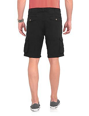Cherokee Black Solid Cargo Shorts
