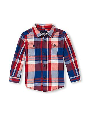 The Children's Place Toddler Boy Long Sleeve Plaid Twill Button-Down Shirt