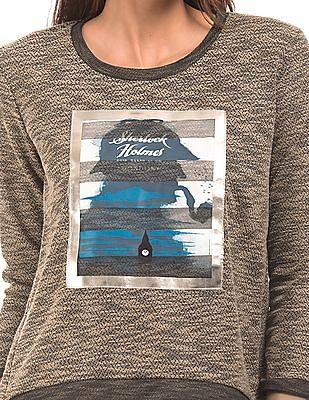 SUGR Printed Panel Patterned Sweatshirt