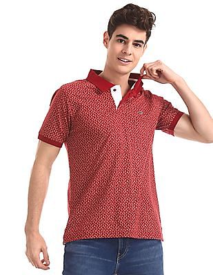 Ruggers Red Regular Fit Floral Print Polo Shirt