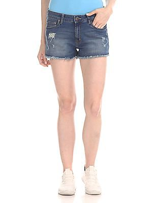 Aeropostale Distressed Tomboy Denim Shorts