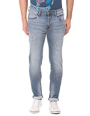 Ed Hardy Super Slim Fit Splatter Print Jeans