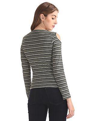 SUGR Striped Cold Shoulder Top