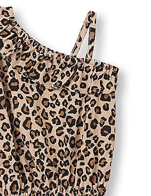 The Children's Place Toddler Girl Sleeveless Leopard Print Ruffled One-Shoulder Tank Romper