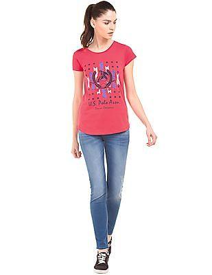 U.S. Polo Assn. Women Printed Regular Fit T-Shirt