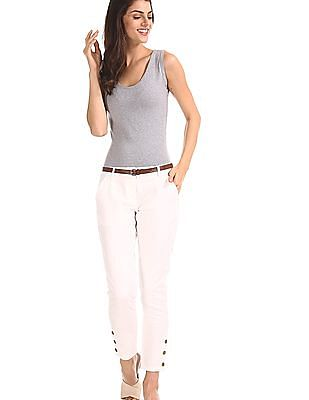 Cherokee White Buttoned Hem Belted Trousers