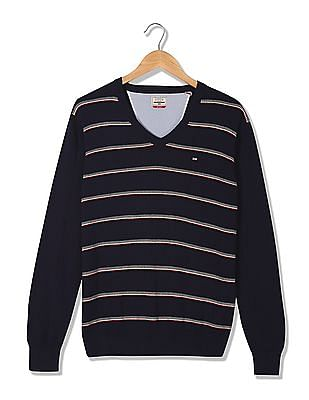 Arrow Sports Striped V-Neck Sweater