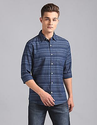GAP Slim Fit Striped Indigo Shirt