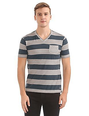Flying Machine Striped V-Neck T-Shirt