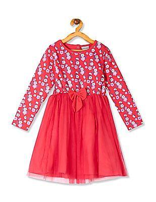 Cherokee Pink Girls Floral Print Mesh Dress