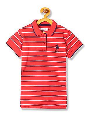 U.S. Polo Assn. Kids Girls Short Sleeve Stripe Polo Shirt
