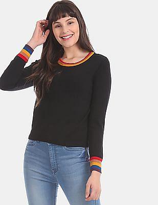 Aeropostale Black Striped Trim Flat Knit Sweater