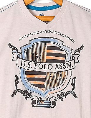 U.S. Polo Assn. Kids Boys V-Neck Printed T-Shirt