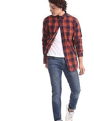 Aeropostale Orange And Navy Cotton Check Shirt