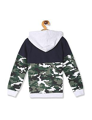 Cherokee Grey And Navy Boys Panelled Hooded Sweatshirt
