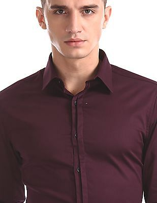 Excalibur Red Super Slim Fit French Placket Shirt
