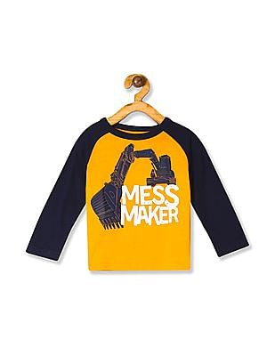The Children's Place Yellow Toddler Boy Long Raglan Sleeve Graphic Top