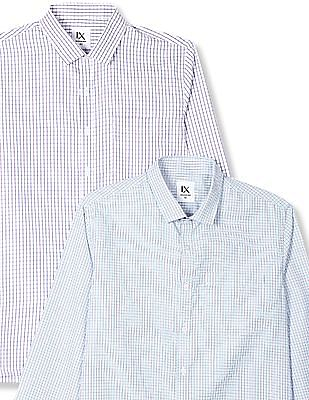 Excalibur Assorted Mitered Cuff Check Shirt - Pack Of 2