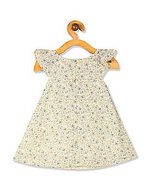 Donuts Yellow Girls Printed A-Line Dress