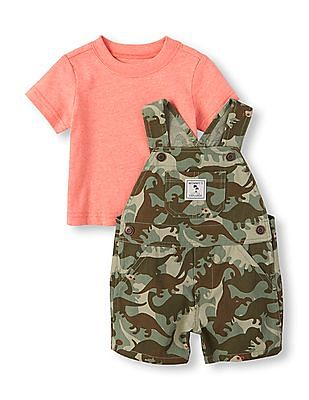 The Children's Place Baby Boys Short Sleeve Tee And Dinosaur Camouflage Print Woven Overall Shorts Set