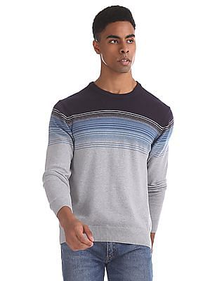 Aeropostale Grey And Navy Striped Sweater