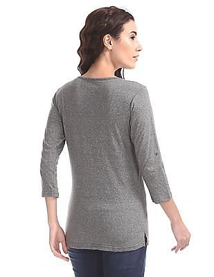 Cherokee Heathered Henley Neck Top
