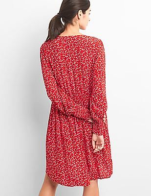 GAP Print V-Neck Swing Dress