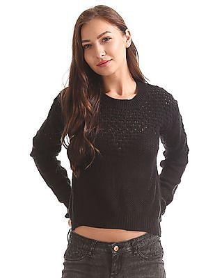 Elle Open Knit High Low Hem Sweater