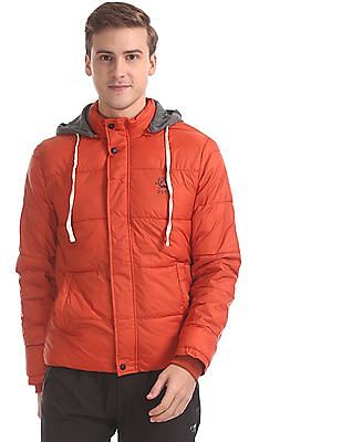 U.S. Polo Assn. Orange Drawstring Hood Quilted Jacket
