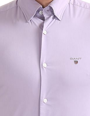 Gant Tech Prep Broadcloth Solid Slim Hidden Button Down Shirt