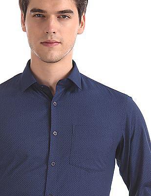 Excalibur Blue Super Slim Fit French Placket Shirt