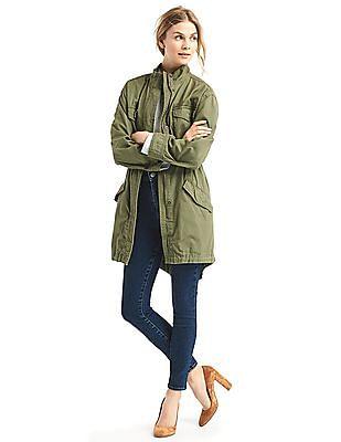 GAP Women Green Long Utility Jacket